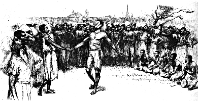 Drawing of dancers in Congo Sqare in the late 1700s.