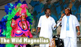 Photo of Big Queen Rita Dollis, Big Chief Bo Dollis, and Big Chief Gerard Dollis with the Wild Magnolias