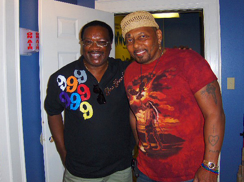 WWOZ show host Brother Jesse with Aaron Neville