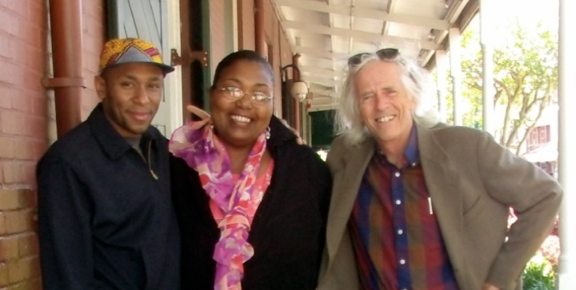 Yassin Bey, Maryse Dejean,and Don Paul. outside WWOZ's studio, May 2013