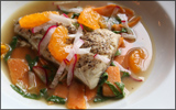 Poached Speckled Trout with Sweet Potatoes