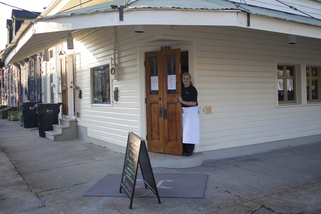 Chef Amy outside Langlois located at 1710 Pauger Street, New Orleans