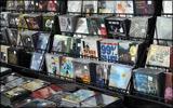 CDs on a rack