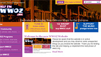 screenshot of WWOZ home page
