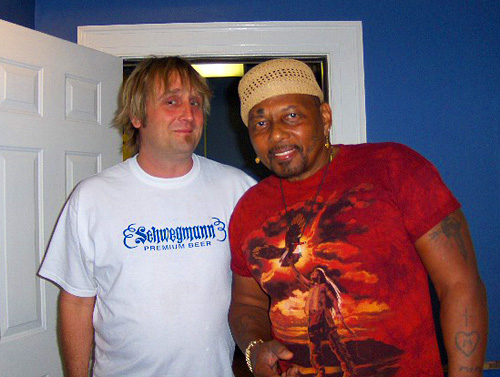 WWOZ show host George Ingmire with Aaron Neville