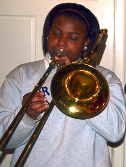 Red Wolf Brass Band trombone player