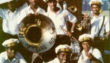 Rebirth Brass Band at Jazz Fest in the 1980s [Photo courtesy Jazz & Heritage Fou