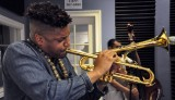 Christian Scott with his tilted bell trumpet [Photo by Kichea S. Burt]