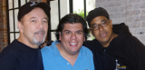 Ruben Blades, WWOZ Operations Manager Jorge Fuentes, and Danilo Perez
