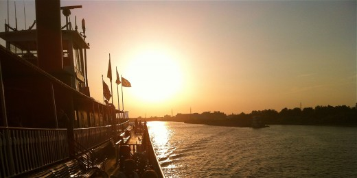 Sunset over New Orleans from the Steamboat Natchez. Photo by Melanie Merz.