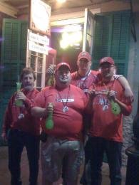 Utah fans with hand grenade drinks in front of Yo' Mama's after the Sugar Bowl