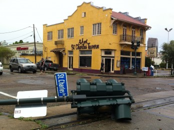 St Charles street light down, but behind it the St Charles Tavern is open.
