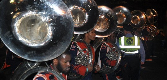 O. Perry Walker HS Marching Band in a Mardi Gras parade