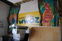 closeup photo of WWOZ banner