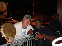 Boudin man and master drummer Larry Boudreaux outside Handa Wanda's