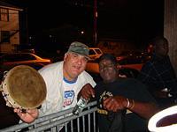 Boudin man and master drummer Larry Boudreaux outside Handa Wanda's