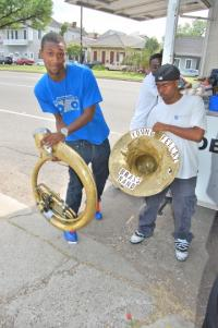 Boudel and Lancaster carry the sousaphone in two pieces!