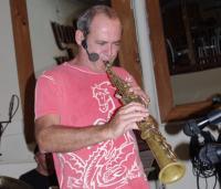 Carlos Malta rehearsing on the soprano sax at Snug Harbor