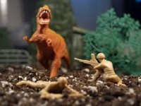 Army men fighting Godzilla