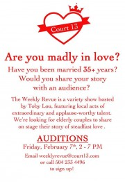 Are you madly in love? Have you been together for 25+ years? Auditions on Feb 7