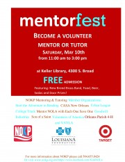 Mentorfest 2014 May 10th 11 a.m.-3 p.m., Rosa F. Keller Library, 4300 S Broad