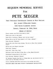 New Orleans, Pete Seeger, Memorial