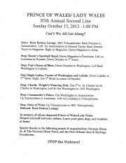 Prince of Wales Second Line Route Sheet 2013