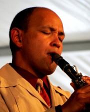 Evan Christopher at Jazz Fest 2012. Photo by Eric Hartman.
