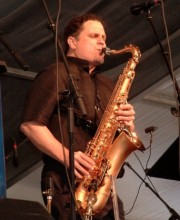 Ray Moore lighting up his tenor sax. Photo provided by Ray Moore.