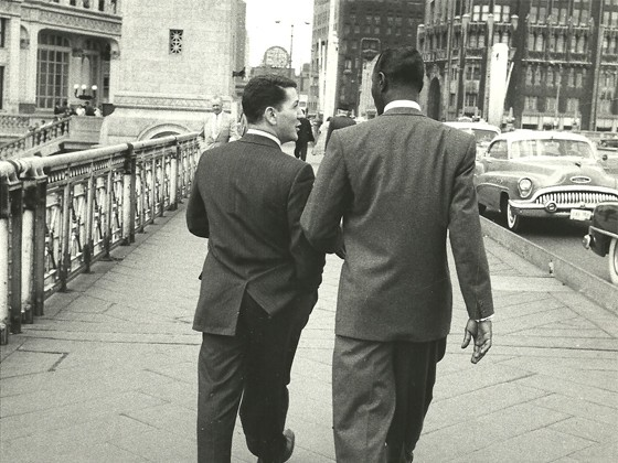Dick LaPalm and Nat King Cole on Michigan Avenue in Chicago.