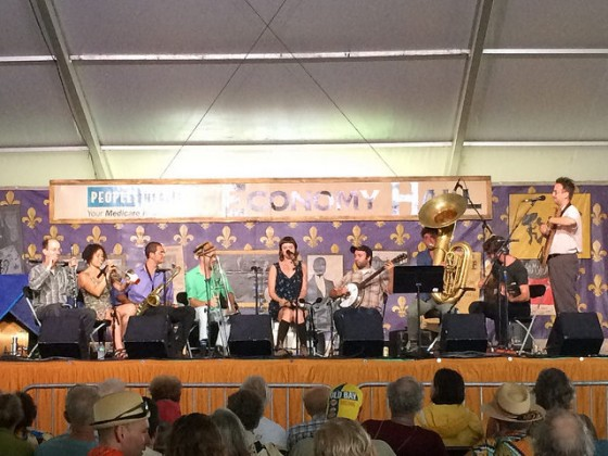 Tuba Skinny performing at Jazz Fest 2016 [Photo by Carrie Booher]