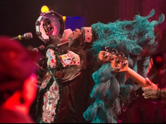 Big Chief Monk Boudreaux during the Busted on Bourbon Street concert at the Metro in Chicago [Photo by Marc PoKempner]