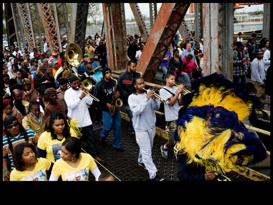 Stooges 'crossing the canal' with the CTC Steppers in 2012 [Photo by Ryan Hodgson-Rigsbee]