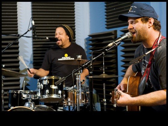Garland Paul and Aaron Wilkinson of Honey Island Swamp Band performing at WWOZ in 2013 [Photo by Ryan Hodgson-Rigsbee]