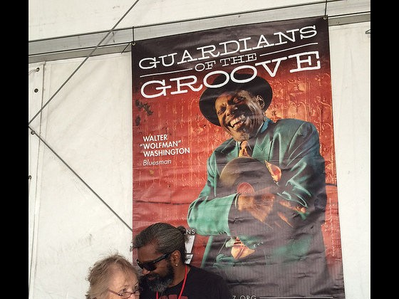 Grace Perrine and Dwayne Breashears in the WWOZ Hospitality Tent [Photo by Carrie Booher]