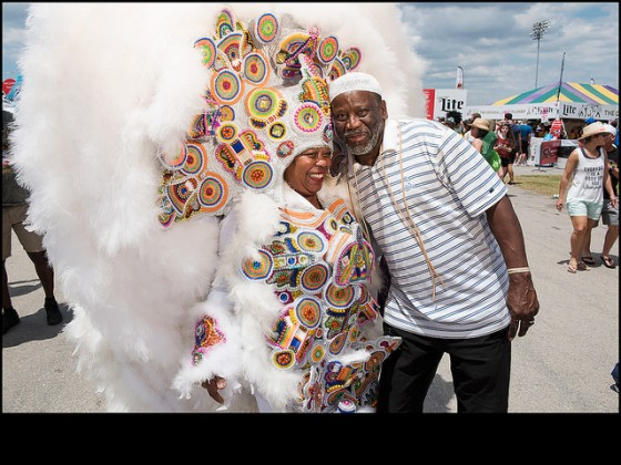 Monogram Hunters Big Queen Denice and Fi-Yi-Yi Big Chief Victor Harris at Jazz Fest 2016 day 3. [Photo by Ryan Hodgson-Rigsbee]