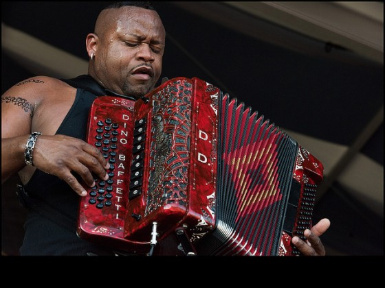 Dwayne Dopsie & the Zydeco Hellraisers close out the Fais Do-Do Stage during day one of Jazz Fest 2016. [Photo by Ryan Hodgson-Rigsbee]