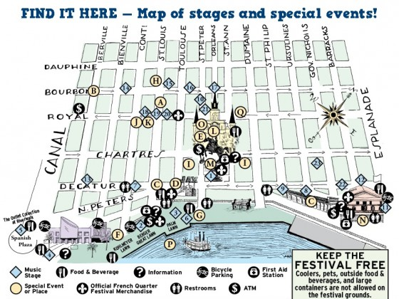 2016 French Quarter Fest stage map