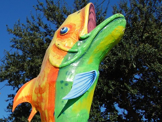 Leaping game fish float sculpture