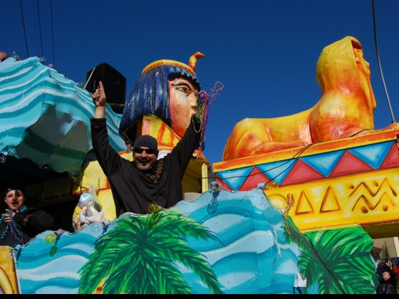 Sphinx float with jubilant rider