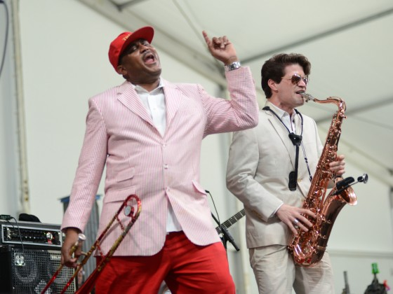 Glen David Andrews onstage at Jazz Fest in 2016 [Photo by Leon Morris]