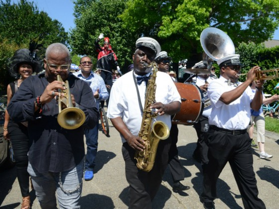 Terence Blanchard leading parade to the Jazz Fest grounds on International Jazz Day 2015 [Photo by Leon Morris]