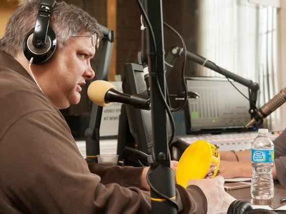 Michael Dominici on-air [Photo by Ryan Hodgson-Rigsbee]