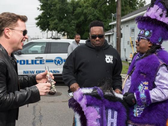 Stanton Moore, Derrick Freeman, and Eric Burt on Downtown Super Sunday 2018 [Photo by Ryan Hodgson-Rigsbee]