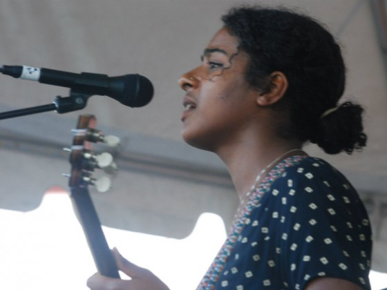 Leyla McCalla on the Lagniappe Stage at Jazz Fest 2012 [Photo by Hunter King]