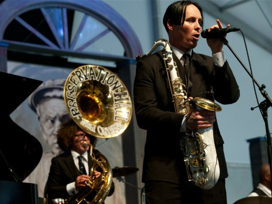 Ben Jaffe and Clint Maedgen of Pres Hall Jazz Band [Photo by Ryan Hodgson-Rigsbee]