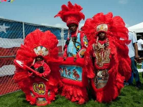 Seminole Mardi Gras Indians at Jazz Fest 2014 [Photo by Ryan Hodgson-Rigsbee]