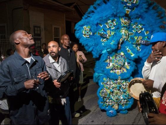Monogram Hunters 2nd Chief Jeremy Stevenson downtown on St. Joseph's Night 2016 [Photo by Ryan Hodgson-Rigsbee]