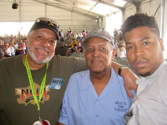 Another longtime WWOZ DJ, Michael Gourrier (Mr. Jazz) with Clinton Scott and his grandson, jazz musician Christian Scott aTunde Adjuah at Jazz Fest  [Photo courtesy Mike Gourrier]