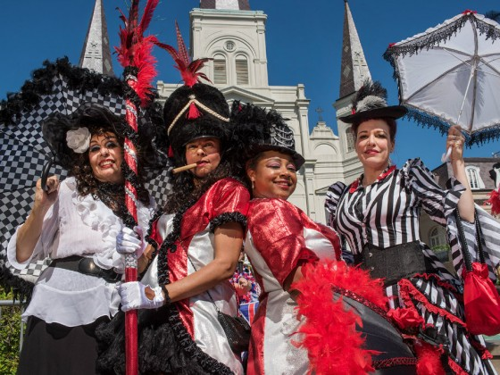 Black Storyville Baby Dolls at French Quarter Fest [Photo by Ryan Hodgson-Rigsbee]